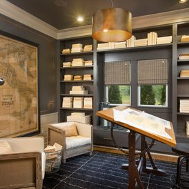 Home office - loving the gray color scheme - white fabrics, and dark wood pieces.