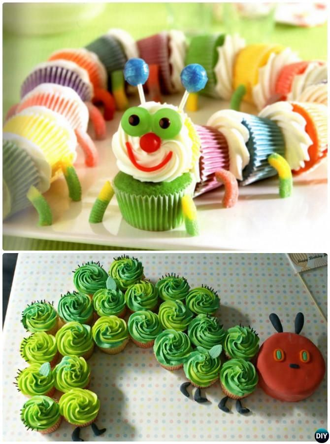 #DIY Pull Apart Caterpillar #Cupcake #Cake Decorating-20 Gorgeous Pull Apart Cupcake Cake Designs For Any Party