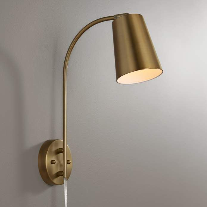 Sully Warm Brass Plug In Wall Lamp 9p579 Lamps Plus Plug In Wall Lamp Modern Wall Lamp Wall Mounted Lamps