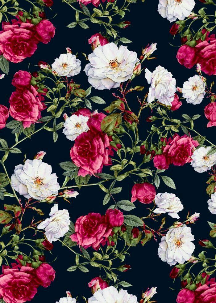Vintage Roses On Darkblue Background By VS Fashion Studio