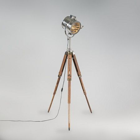 Lampa podłogowa Tripod Radiant drewno z chromem