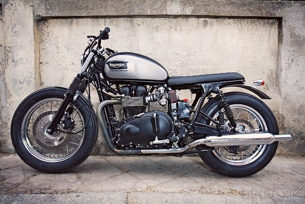 """The latest from Cafe Racer Dreams of Spain: the Triumph Bonneville """"Silver Eyes""""."""