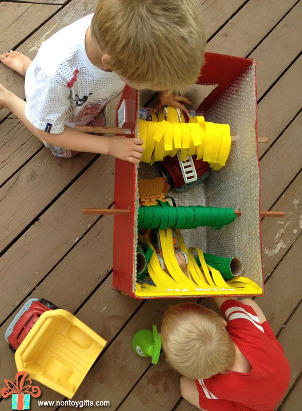 Make a cardboard car wash from a box. DIY cardboard toy for kids. Learn how to make it waterproof. Wash your car pretend play .
