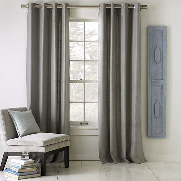 Linen Cotton Grommet Window Panel – Platinum #WestElm These are an option too. But I'm a vampire so I'm concerned they might allow too much light to come in...