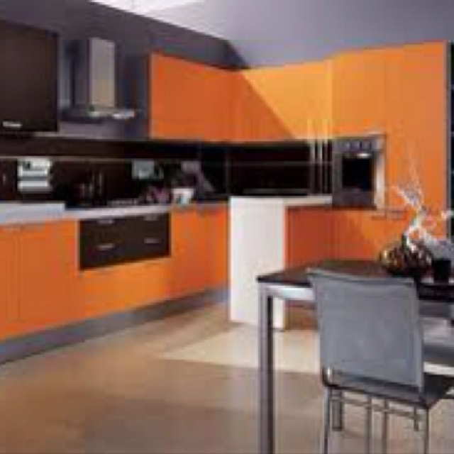 Orange cabinets in kitchen