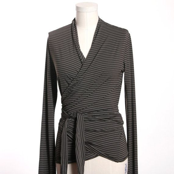 Dark Brown Stripe Long Sleeve Wrap Top by MiloCreativeStudios
