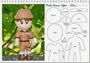 ARTESANATO COM QUIANE - Paps,Moldes,E.V.A,Feltro,Costuras,Fofuchas 3D: molde boneco safari 25 cm