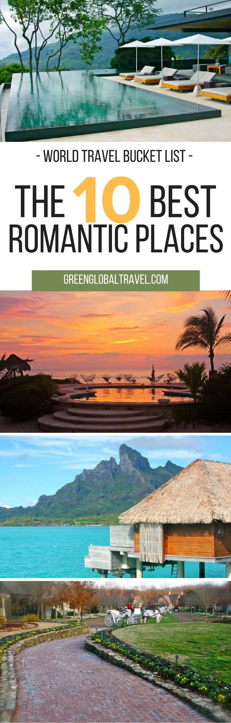 Here are our top 10 romantic places around the world for your travel bucket list! Georgia | Bora Bora | Tahiti | Panama | Islas Secas Resort | Costa Rica | Kura Design Villas | South Africa | Londolozi Game Reserve | St. Kitts | Ottley's Plantation Inn | Chile | Patagonia Camp | Shangri'La | Dominican Republic | Mexico |