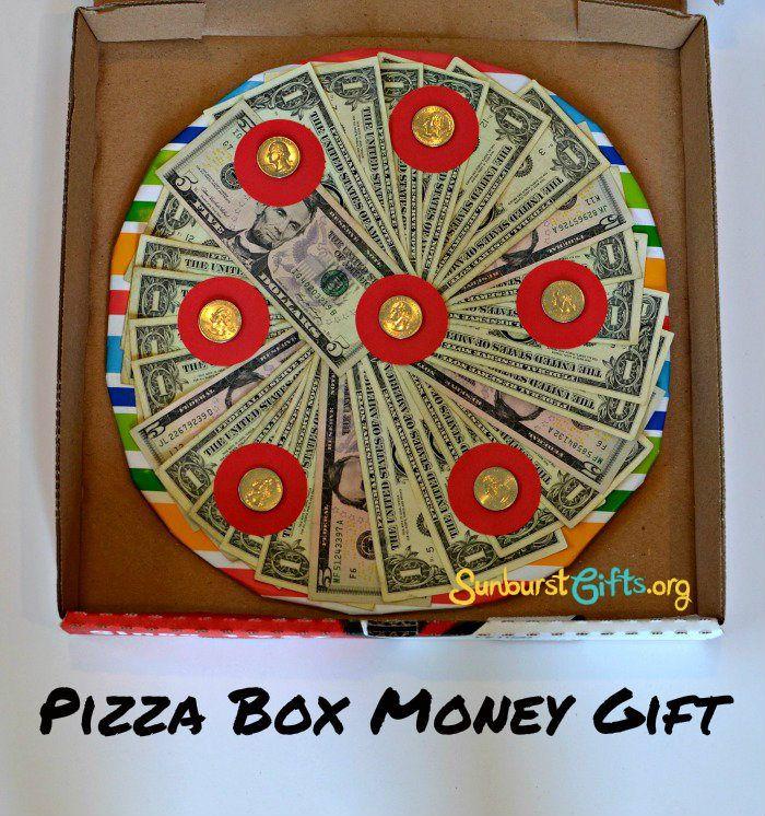 Thoughtful Pizza Box Money Graduation Gift SunburstGifts