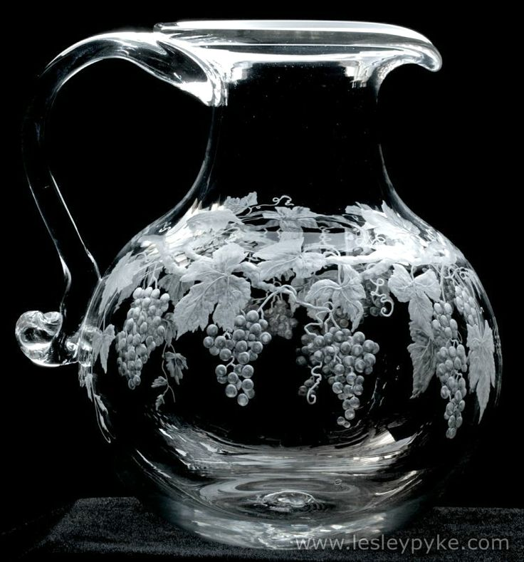Crystal jug blown by Georgian Glass Makers. Hand engraved by Lesley Pyke