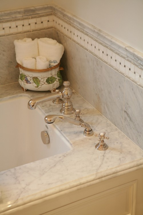 Marble Tub Deck With Undermount Tub.