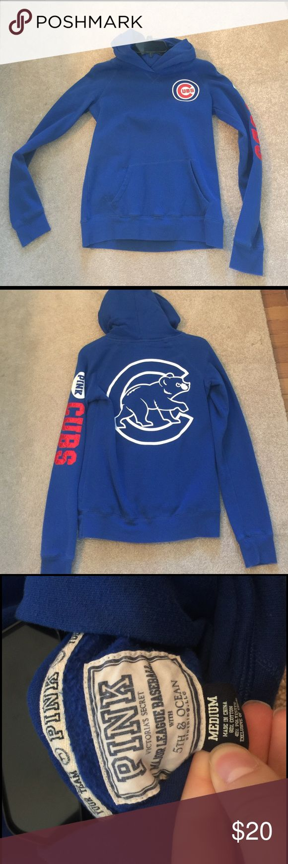 PINK Chicago cubs hoodie Size medium PINK Chicago Cuba hoodie. Has been worn but still has some life left to it. It is super comfy and really cute! PINK Victoria's Secret Tops Sweatshirts & Hoodies