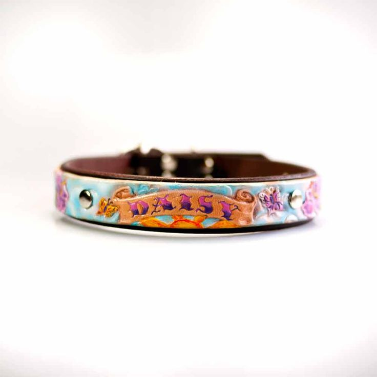 Personalized Dog Collar, Unique Leather Dog Collar, Custom Dog Collar, Girl Dog Collars, Designer Dog Collar, Tooled Leather Pet Collar by dieselDOGwear on Etsy https://www.etsy.com/listing/250283818/personalized-dog-collar-unique-leather