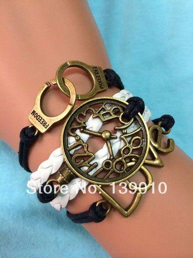 New European Style Braided White Black Leather Rope Clock Handcuffs LOVE Accessories Bracelets Bangles Popular Women Men Jewelry