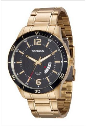 20432GPSVDA3 Relógio Masculino Dourado Seculus Analógico Long Life   Guest Club