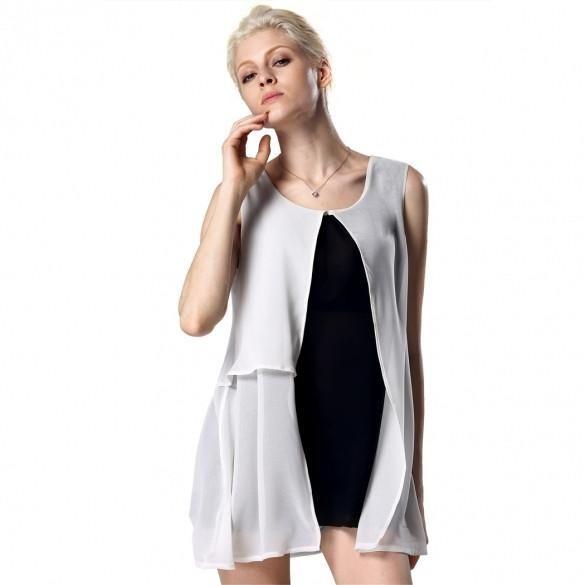 Stylish Lady Women's Casual O-neck Sleeveless Stitching Long Chiffon Shirt