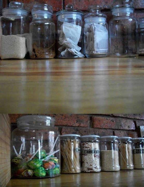 Hate clogging up your cupboards? put your coffee and teas and pasta's into old jars. makes a great feature in the kitchen