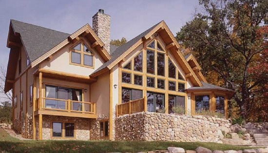 Stucco Stone And Log Siding Finishes Are Combined In This