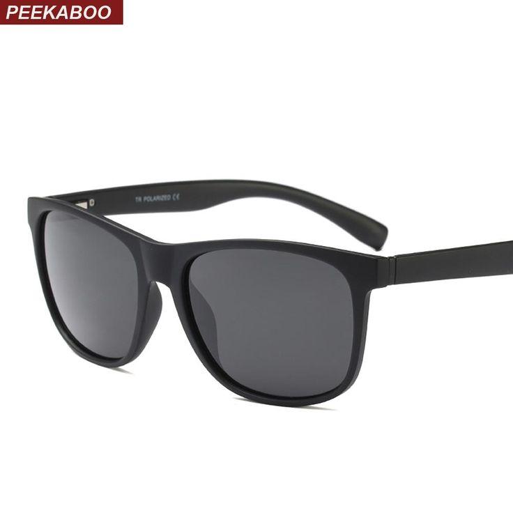 Peekaboo retro sunglasses men polarized 2018 tr90 black high quality driving polarized sun glasses male gift with box