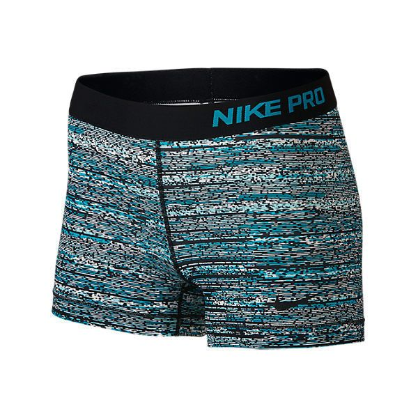 Nike Women's Pro Static 3 Inch Shorts, Blue ($35) ❤ liked on Polyvore featuring activewear, activewear shorts, blue, nike sportswear, nike and nike activewear