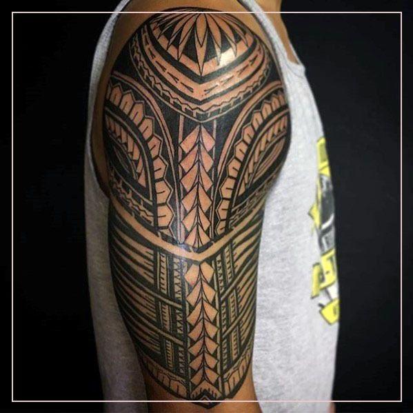Half Sleeve Tattoos 36332 Traditional Polynesian Tribal Male Half Sleeve Tattoo In 2020 Quarter Sleeve Tattoos Sleeve Tattoos Polynesian Tattoo Designs