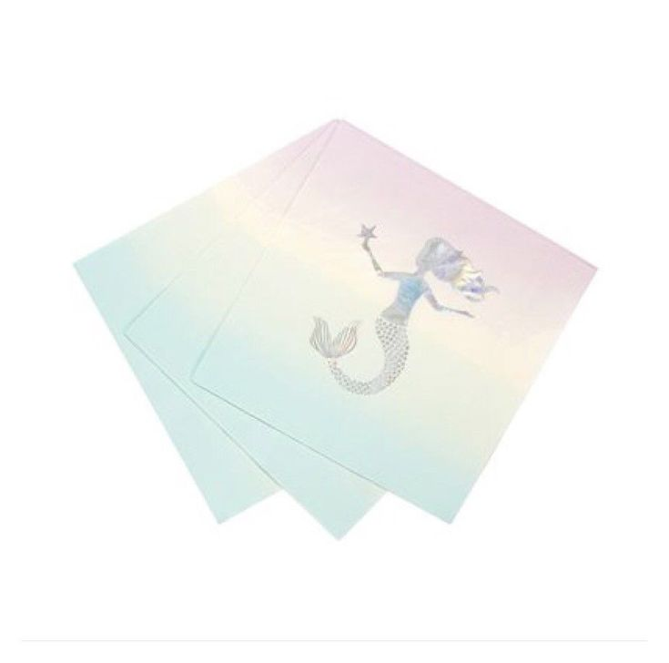 These stunning napkins feature an iridescent detail mermaid perfect for kids birthdays and plenty of other celebrations alike With it s pastel