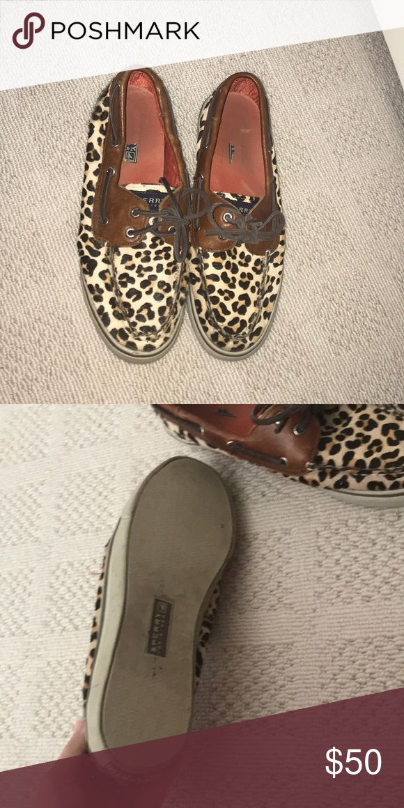 Leopard sperrys Very cute and actual fake fur! Sperry Top-Sider Shoes Flats & Loafers