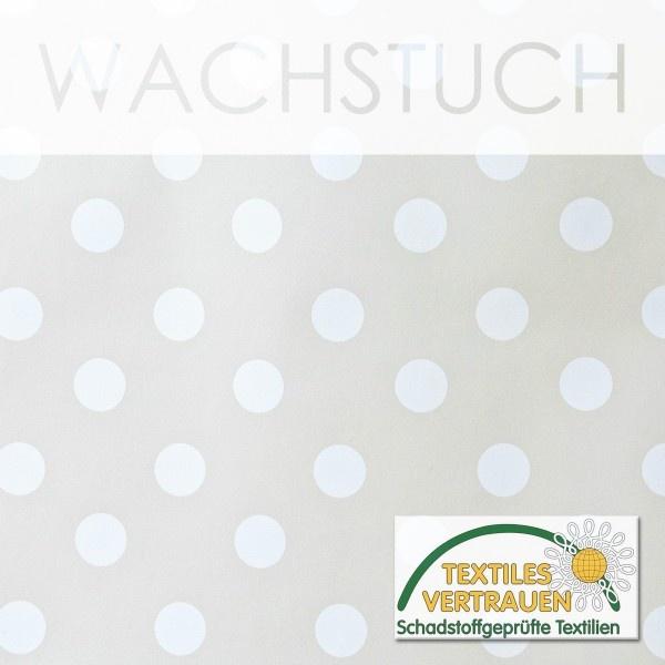 WACHSTUCH TISCHDECKE Abwaschbar Meterware - Glatt, Punkte Weiß/Creme-Beige
