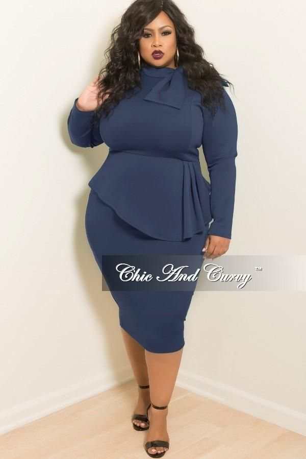 Plus Size BodyCon Peplum Dress with Neck Tie and Back Zipper – Chic And Curvy