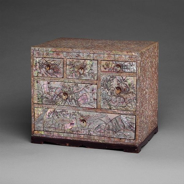 Small Chest of Drawers with Decoration of Flowers, Birds, and Insects