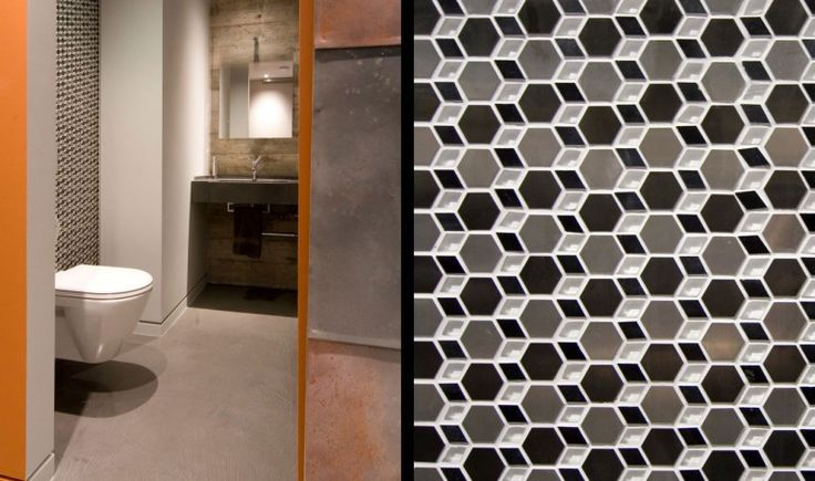 bachelor pad : Yaletown Loft Designed by Kelly Reynolds - Yaletown Loft Bathroom with Textured Wall and Square Mirror and Orange Wall Paint by Kelly Reynolds medium version