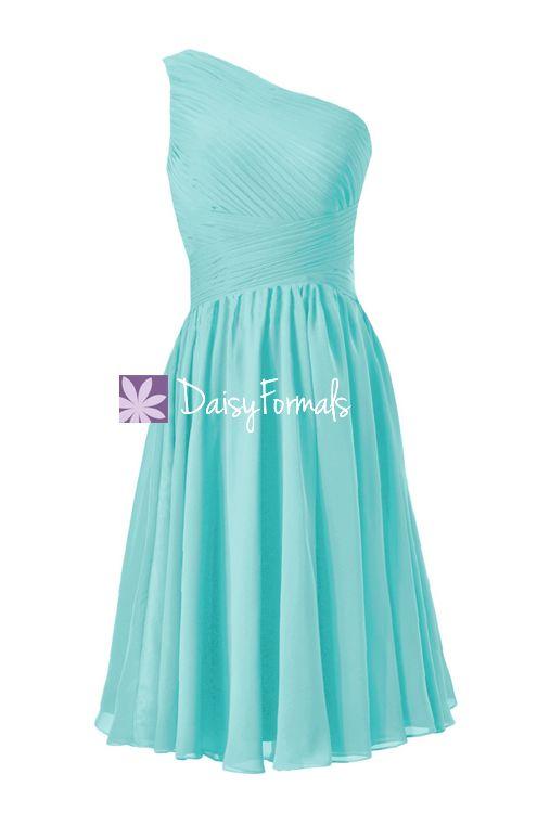 Tiffany Blue One Shoulder Bridesmaid Dress Criss Cross Beach Wedding Dress (BM351)