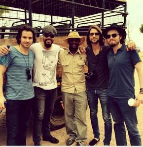 """Pinned via Jessica Pope's twitter: """"On safari already.... think Maimie must be holding the camera :)"""" Our Musketeers <3 (Santiago Cabrera, Howard Charles, Luke Pasqualino & Tom Burke in South Africa for series I premier) Source: Luke's Instagram."""