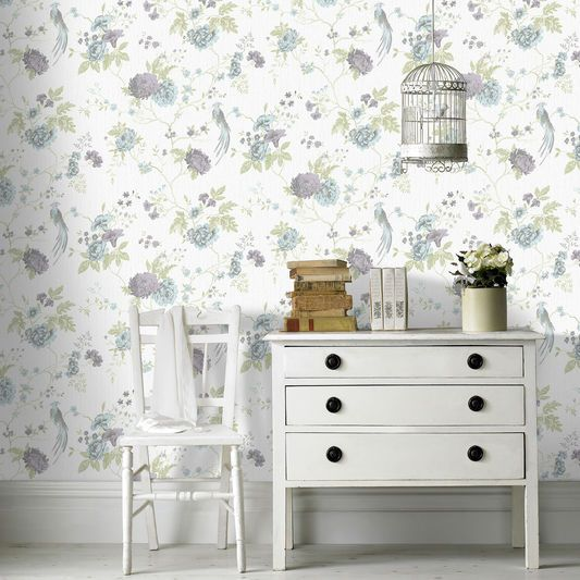 Exotica Duck Egg And Lilac Wallpaper