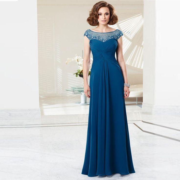 Новый 2015 Сшитое Совок Элегантный Мать Невесты Платья Синий Плиссированные Шифоновые Длинные Vestidos Мадре-де-ла-novia Бисером Молния