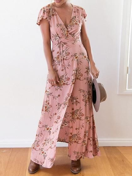 Pink Floral Print V-Neck Capped Sleeve Wrap Tie Waist Maxi Dress