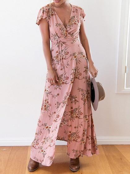 Pink Floral Print V-Neck Capped Sleeve Wrap Tie Waist Maxi Dress