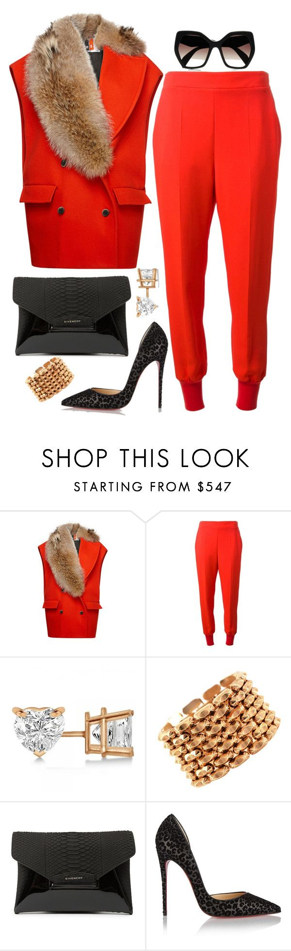 """Red Hot"" by fashionkill21 ❤ liked on Polyvore featuring MSGM, STELLA McCARTNEY, Allurez, Retrò, Givenchy, Christian Louboutin and Prada"