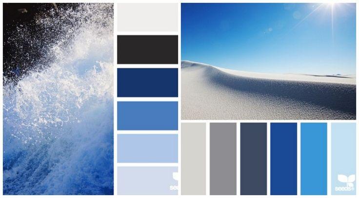 mood board des nuances de bleu et de gris pour la cuisine contemporaine