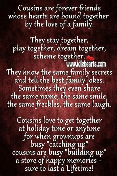 Quotes About Sisters Cousins : Best cousin quotes on cousins sayings and