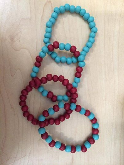 Set of four wooden bead bangles