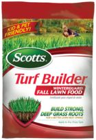 OCTOBER (early/mid-month): Scotts Turf Builder WinterGuard Fall Lawn Fertilizer and water as needed.