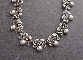 Vintage Taxco Sterling Repousee Necklace Pre Eagle