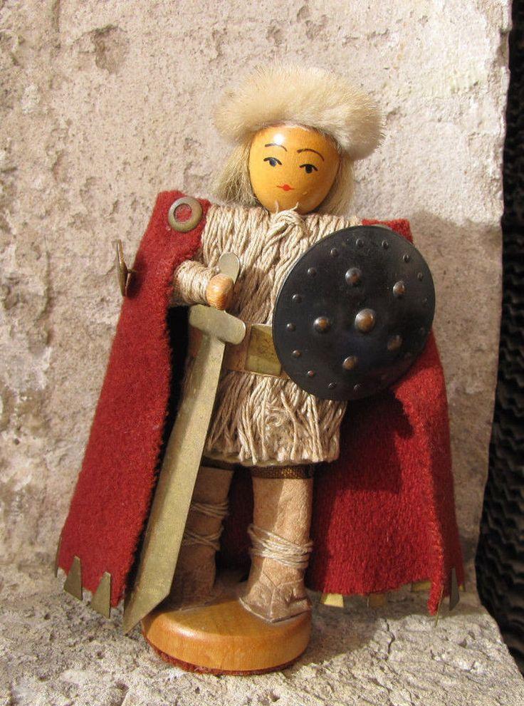 Vintage Sweden Warrior viking Scandinavian Wood Figurine leather animal fur