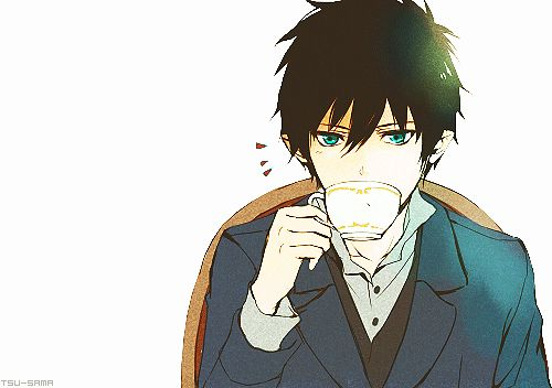 Where is he sitting, looking all fancy and drinking tea so proper lol | Rin Okumura | Ao no Exorcist