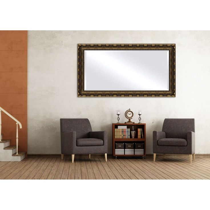 36 X 60 Mirror Part - 30: Oversized Gold Bronze Framed Beveled Mirror (44 X 60), Bronze/Gold