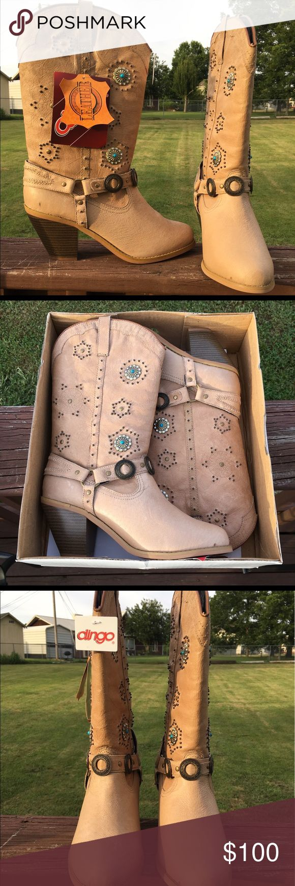 NWT Dingo Cowboy / Cowgirl Boots - Women's size 9 NWT Dingo Cowgirl Boots - Women's size 9M made by Dan Post  These have never been worn, still have the tags and the box! They are beautiful, tan color genuine leather, heeled boots with turquoise accents. Asking $68 (they are much higher at Boot Barn almost double) *****IMPORTANT: Please message me before buying to confirm availability as these are subject to possible sale locally!! I will make every effort to remove asap if sold…
