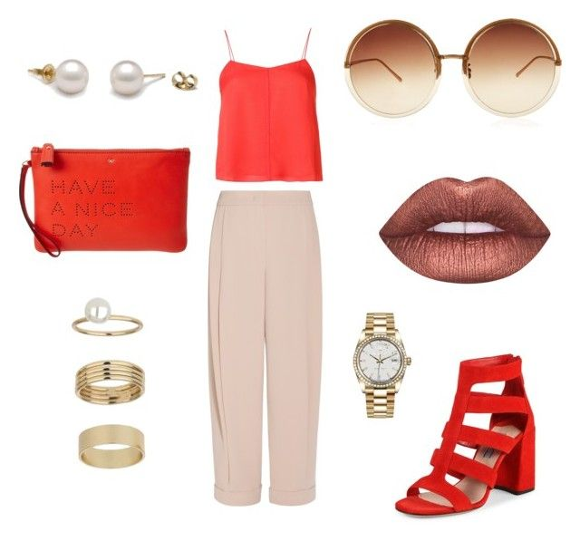Untitled #16 by ana-maria-utea on Polyvore featuring T By Alexander Wang, Emporio Armani, Prada, Anya Hindmarch, Rolex, Miss Selfridge, Linda Farrow and Lime Crime