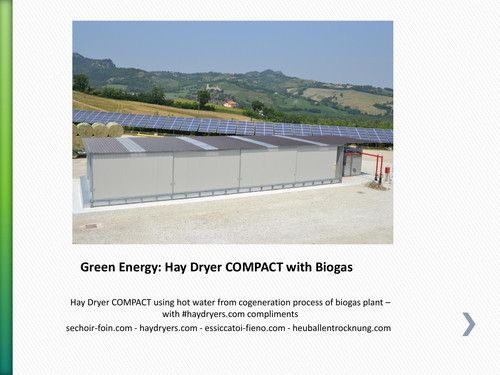 #Green #Energy: Hay Dryer COMPACT with Biogas Hay Dryer COMPACT using hot water from #cogeneration process of #biogas plant – with #haydryers.com compliments  sechoir-foin.com - haydryers.com - essiccatoi-fieno.com - heuballentrocknung.com