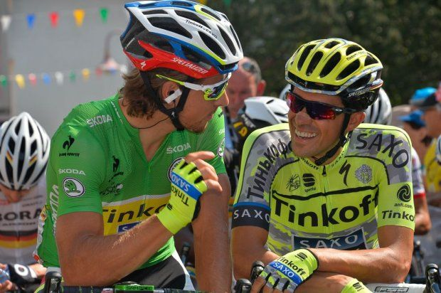 Sagan and Contador at the start of stage 12.  Lannemezan to Plateau de Beille.